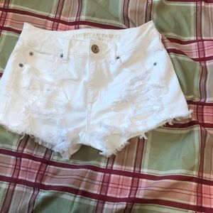 Ripped White American Eagle Shorts